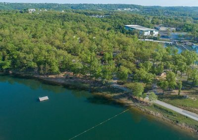 aerial view of port of kimberling cabins and rv park campground